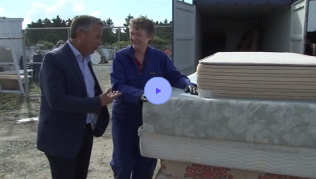 Seven Sharp reporter Michael Holland interviews Timaru District Council waste minimisation manager Ruth Clarke.